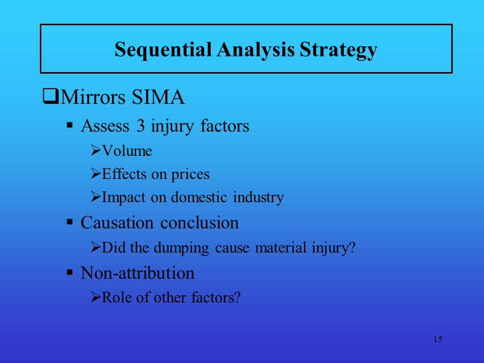 15 Sequential Analysis Strategy Mirrors SIMA Assess 3 injury factors Volume Effects on prices Impact on domestic industry Causation conclusion Did the dumping cause material injury.
