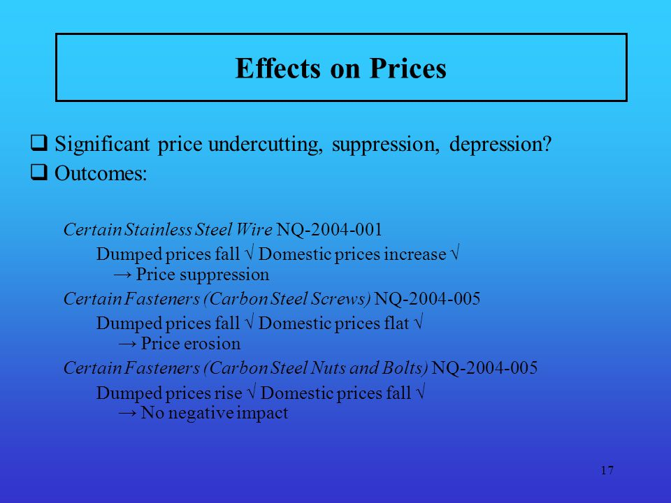 17 Effects on Prices Significant price undercutting, suppression, depression.
