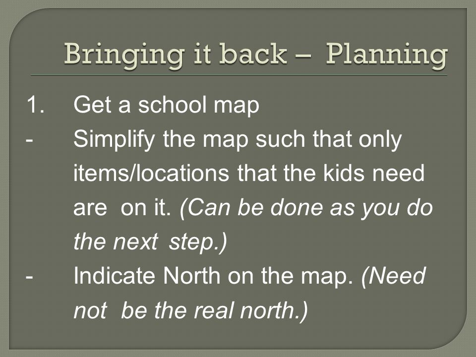 1.Get a school map - Simplify the map such that only items/locations that the kids need are on it.
