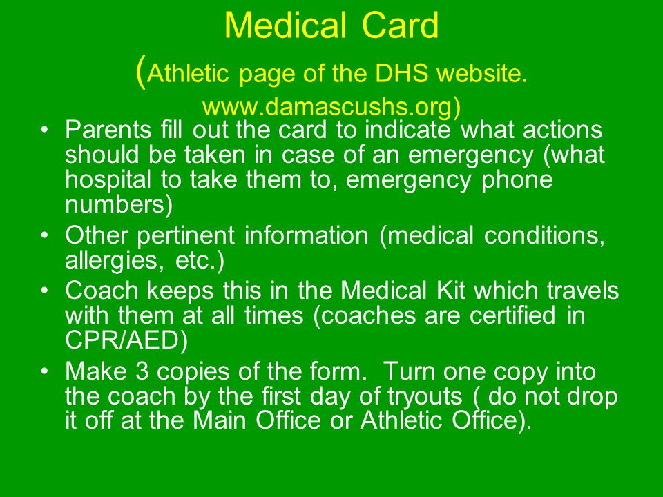 Medical Card ( Athletic page of the DHS website.