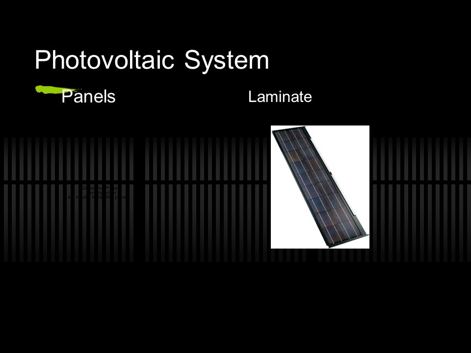 Photovoltaic System Panels Laminate