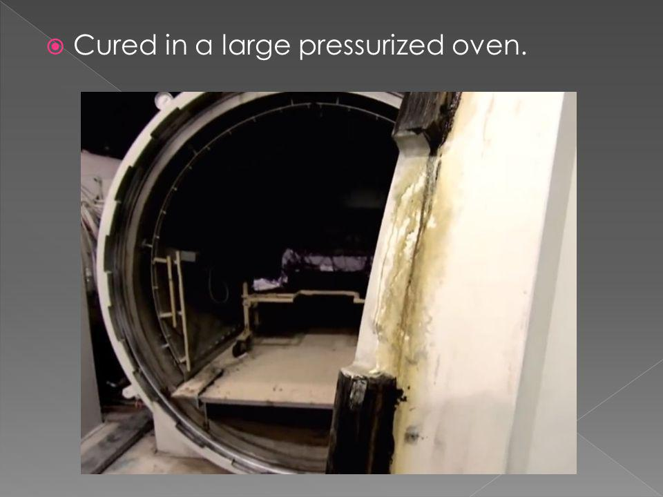 Cured in a large pressurized oven.