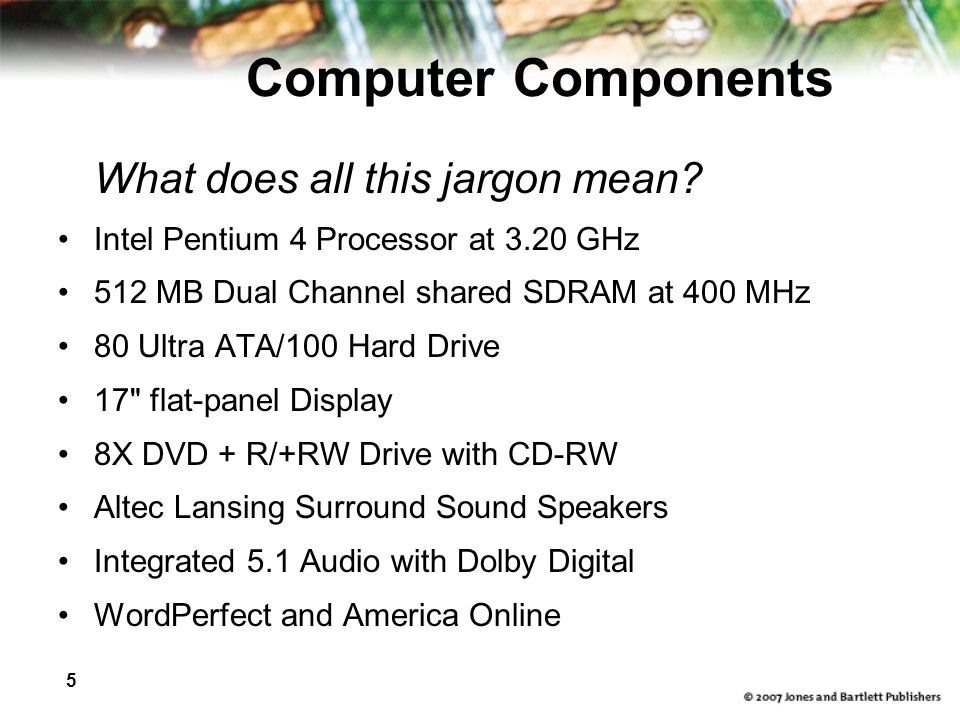 5 Computer Components What does all this jargon mean.