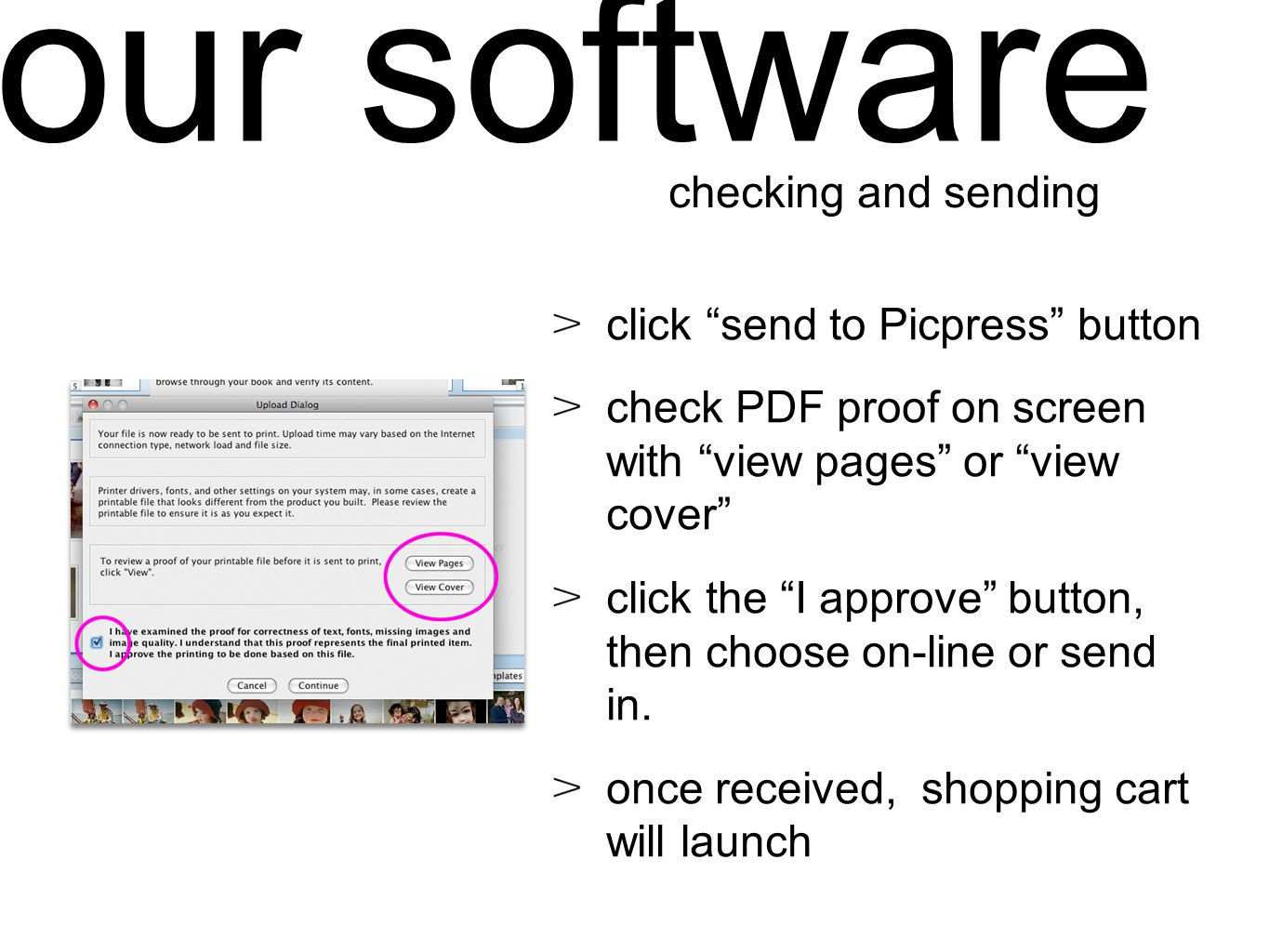 click send to Picpress button check PDF proof on screen with view pages or view cover click the I approve button, then choose on-line or send in.