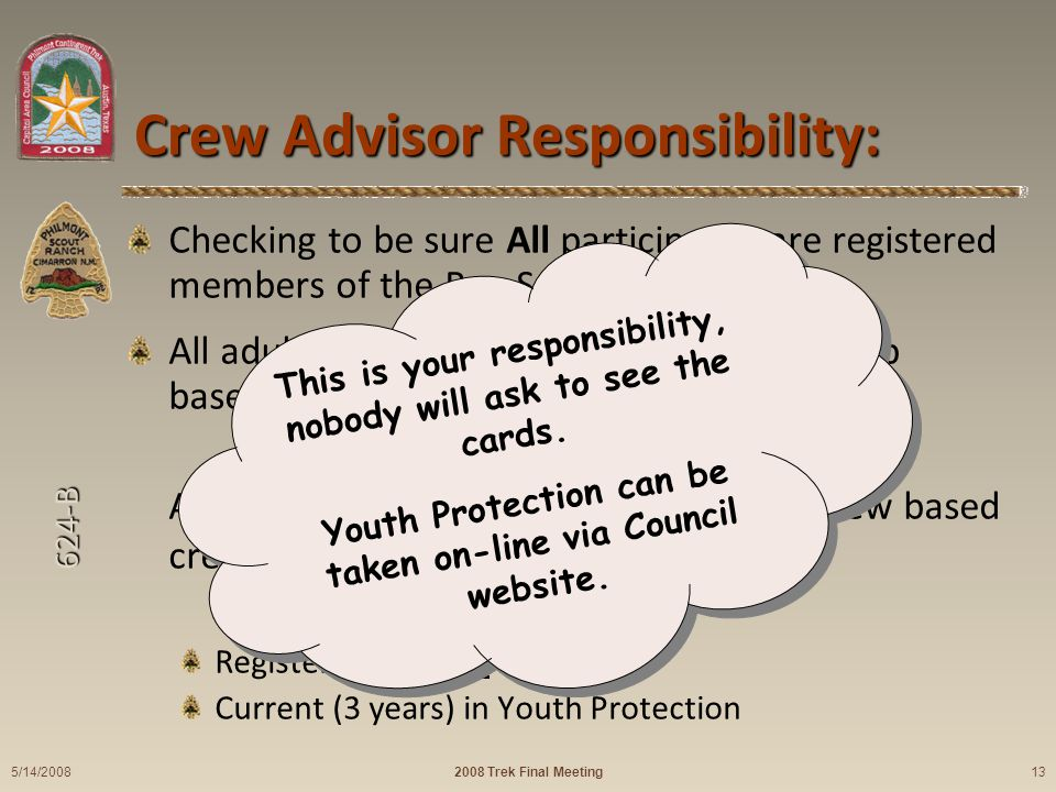 624-B Crew Advisor Responsibility: Checking to be sure All participants are registered members of the Boy Scouts of America.