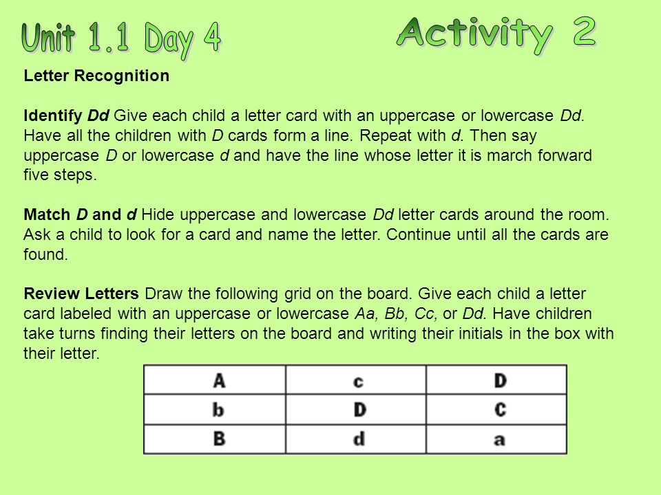 Letter Recognition Identify Dd Give each child a letter card with an uppercase or lowercase Dd.