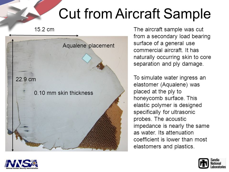 Cut from Aircraft Sample The aircraft sample was cut from a secondary load bearing surface of a general use commercial aircraft.