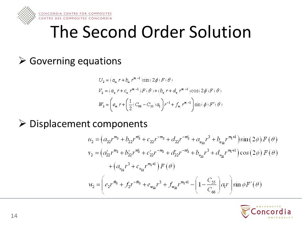 The Second Order Solution Governing equations Displacement components 14