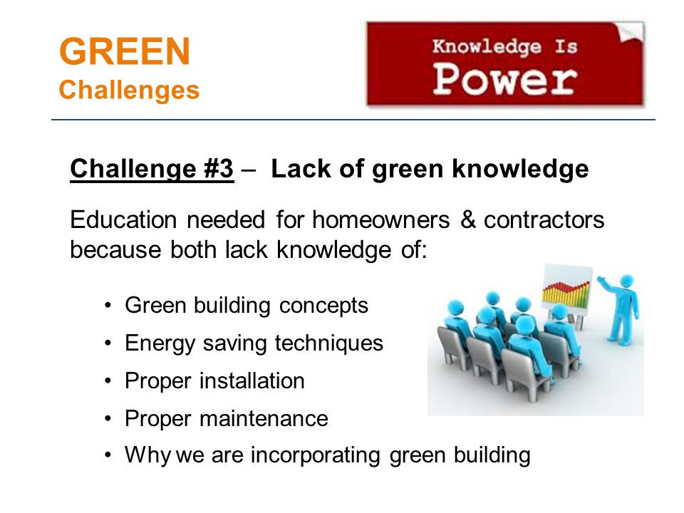 GREEN Challenges Challenge #3 – Lack of green knowledge Education needed for homeowners & contractors because both lack knowledge of: Green building concepts Energy saving techniques Proper installation Proper maintenance Why we are incorporating green building