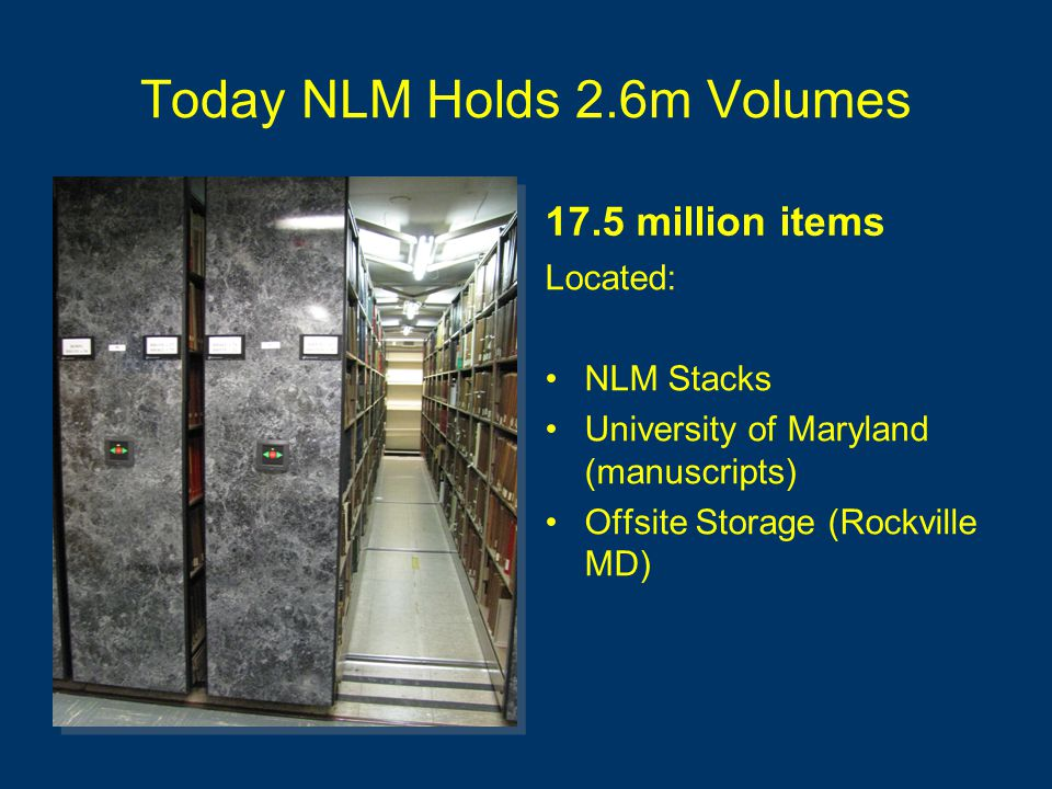 Today NLM Holds 2.6m Volumes 17.5 million items Located: NLM Stacks University of Maryland (manuscripts) Offsite Storage (Rockville MD) Located: NLM Stacks University of Maryland (manuscripts) Offsite Storage (Rockville MD)