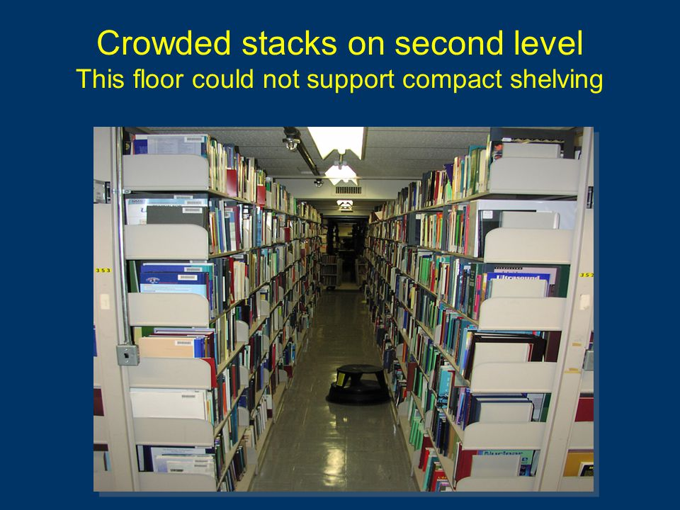 Crowded stacks on second level This floor could not support compact shelving