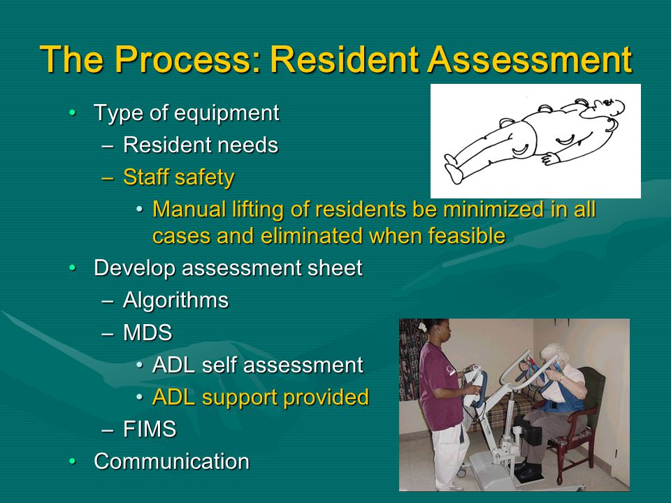 The Process: Resident Assessment Type of equipmentType of equipment –Resident needs –Staff safety Manual lifting of residents be minimized in all cases and eliminated when feasibleManual lifting of residents be minimized in all cases and eliminated when feasible Develop assessment sheetDevelop assessment sheet –Algorithms –MDS ADL self assessmentADL self assessment ADL support providedADL support provided –FIMS CommunicationCommunication