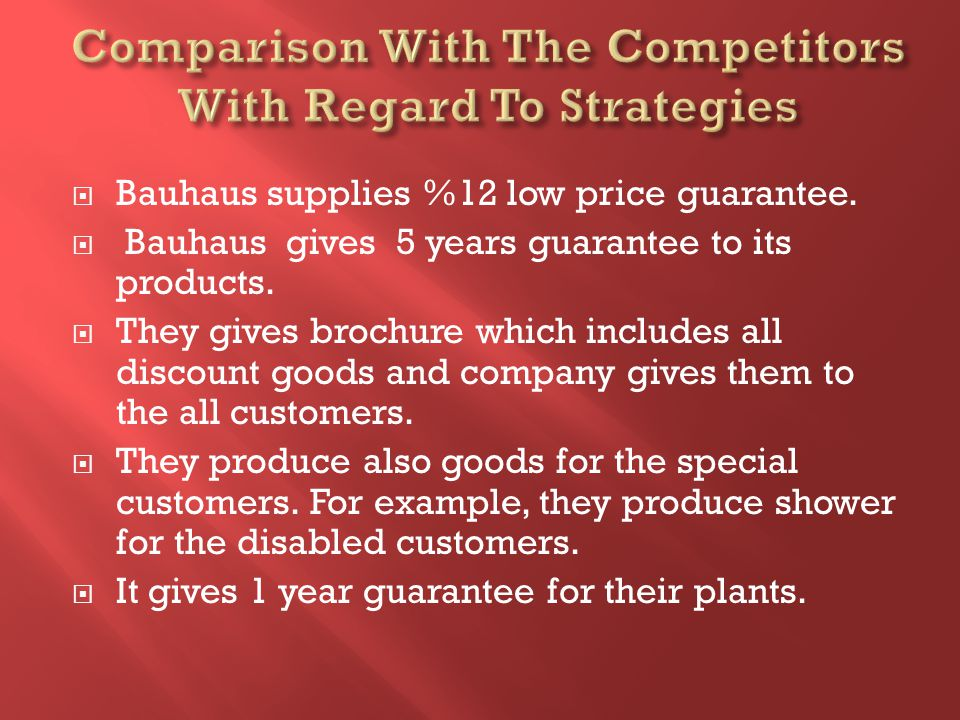 Bauhaus supplies %12 low price guarantee. Bauhaus gives 5 years guarantee to its products.