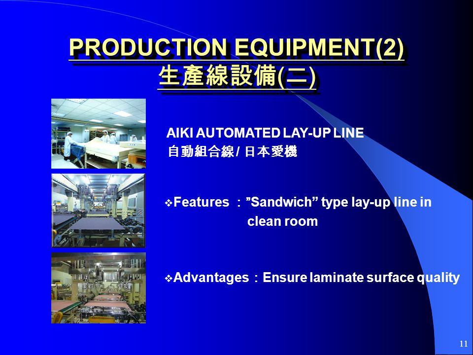 11 PRODUCTION EQUIPMENT(2) ( ) AIKI AUTOMATED LAY-UP LINE / FeaturesSandwich type lay-up line in clean room Advantages Ensure laminate surface quality
