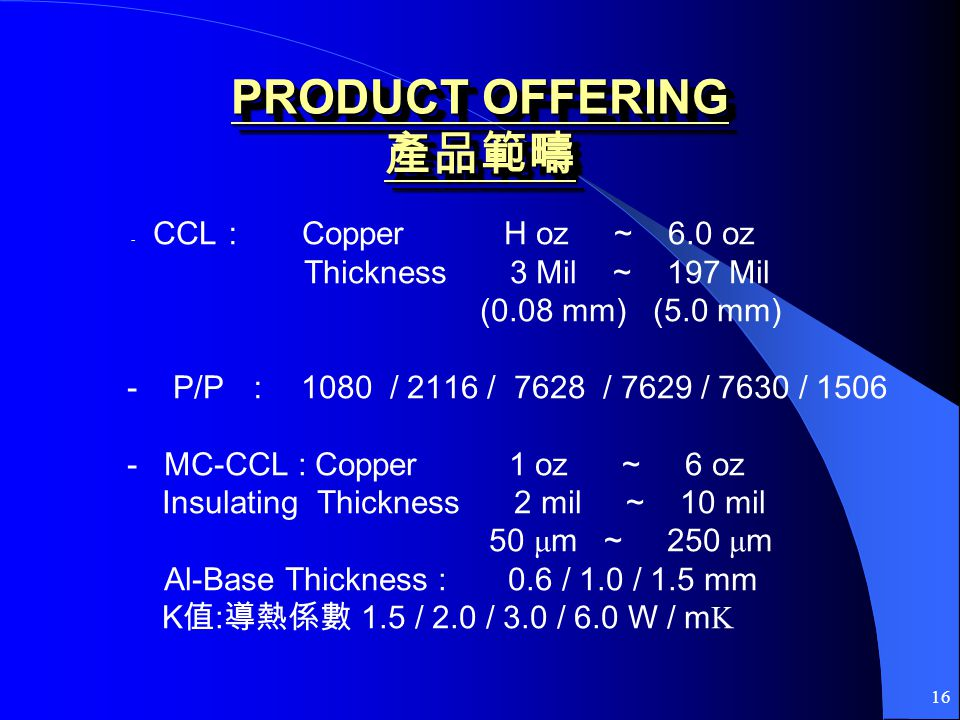 16 PRODUCT OFFERING PRODUCT OFFERING - CCL Copper H oz ~ 6.0 oz Thickness 3 Mil ~ 197 Mil (0.08 mm) (5.0 mm) - P/P 1080 / 2116 / 7628 / 7629 / 7630 / 1506 - MC-CCL : Copper 1 oz ~ 6 oz Insulating Thickness 2 mil ~ 10 mil 50 μ m ~ 250 μ m Al-Base Thickness : 0.6 / 1.0 / 1.5 mm K : 1.5 / 2.0 / 3.0 / 6.0 W / m K