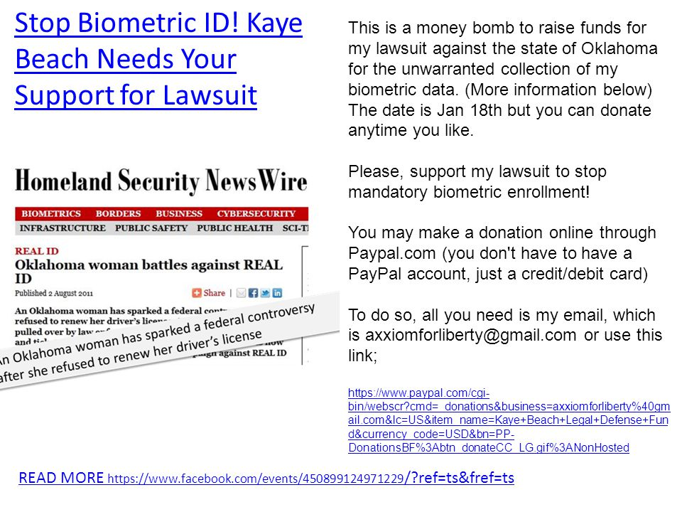 READ MORE https://www.facebook.com/events/450899124971229 / ref=ts&fref=ts This is a money bomb to raise funds for my lawsuit against the state of Oklahoma for the unwarranted collection of my biometric data.