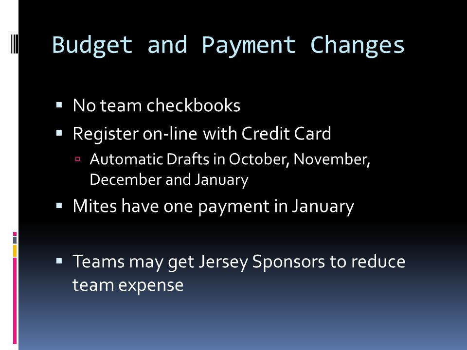 Budget and Payment Changes No team checkbooks Register on-line with Credit Card Automatic Drafts in October, November, December and January Mites have one payment in January Teams may get Jersey Sponsors to reduce team expense