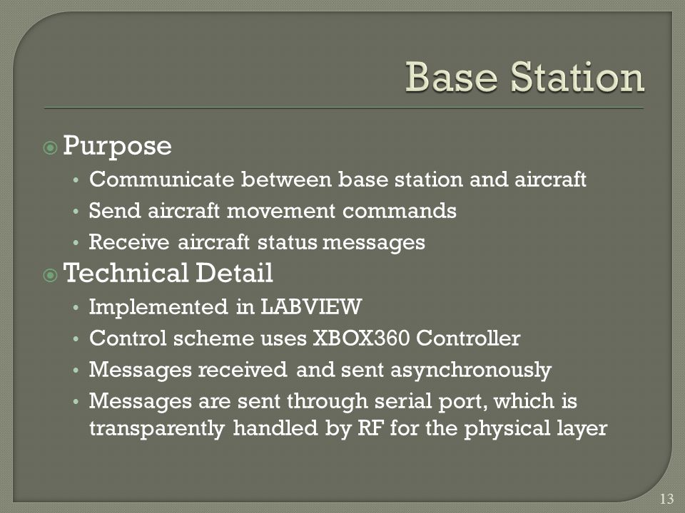 Purpose Communicate between base station and aircraft Send aircraft movement commands Receive aircraft status messages Technical Detail Implemented in LABVIEW Control scheme uses XBOX360 Controller Messages received and sent asynchronously Messages are sent through serial port, which is transparently handled by RF for the physical layer 13