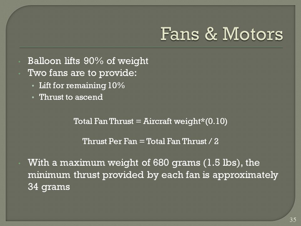 Balloon lifts 90% of weight Two fans are to provide: Lift for remaining 10% Thrust to ascend Total Fan Thrust = Aircraft weight*(0.10) Thrust Per Fan = Total Fan Thrust / 2 With a maximum weight of 680 grams (1.5 lbs), the minimum thrust provided by each fan is approximately 34 grams 35