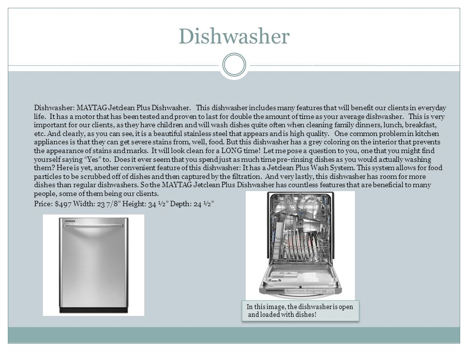 Dishwasher Dishwasher: MAYTAG Jetclean Plus Dishwasher.