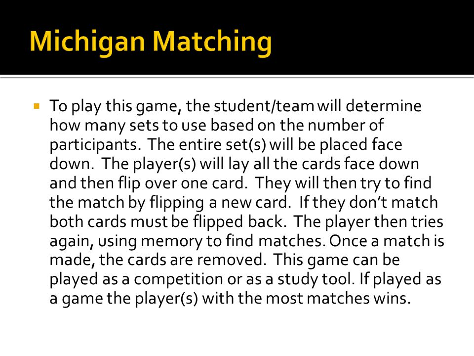 To play this game, the student/team will determine how many sets to use based on the number of participants.