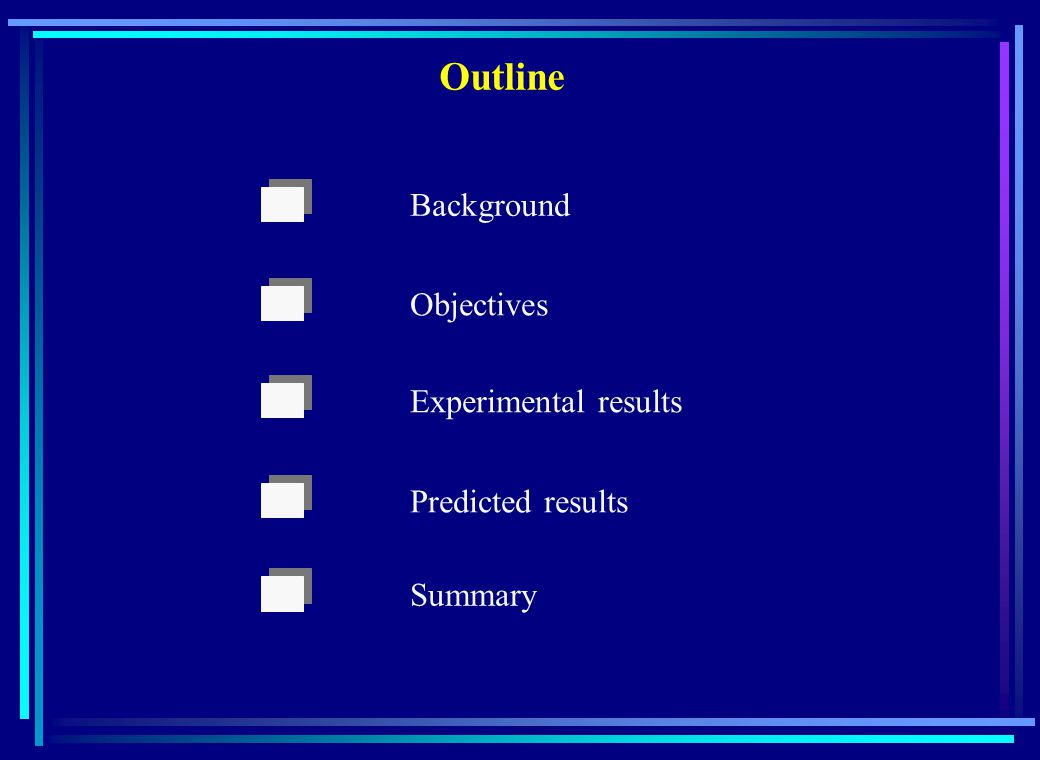 Background Objectives Experimental results Predicted results Summary Outline