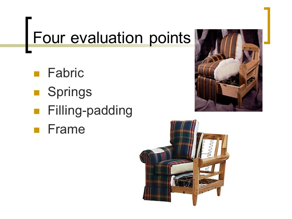Four evaluation points Fabric Springs Filling-padding Frame