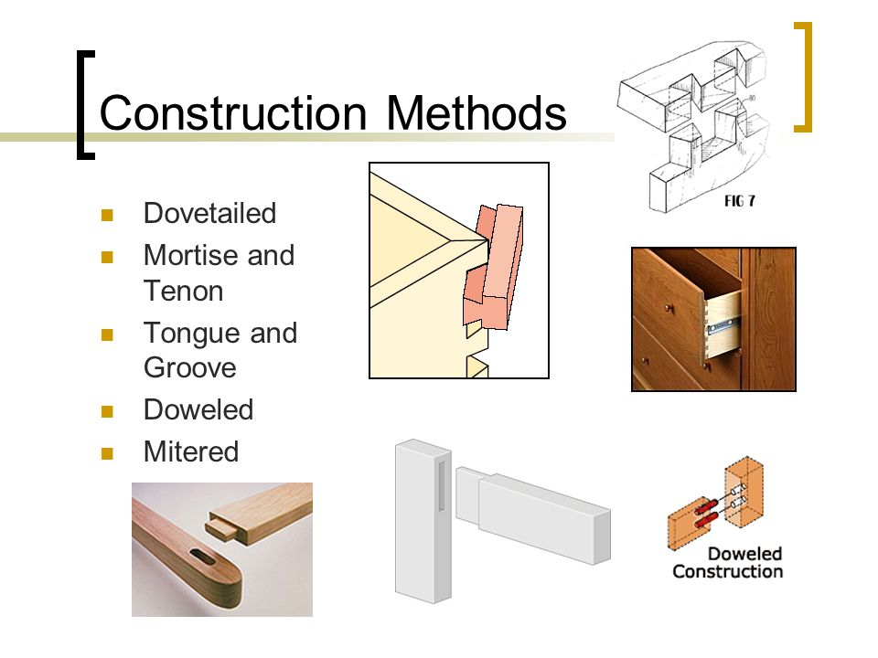Construction Methods Dovetailed Mortise and Tenon Tongue and Groove Doweled Mitered