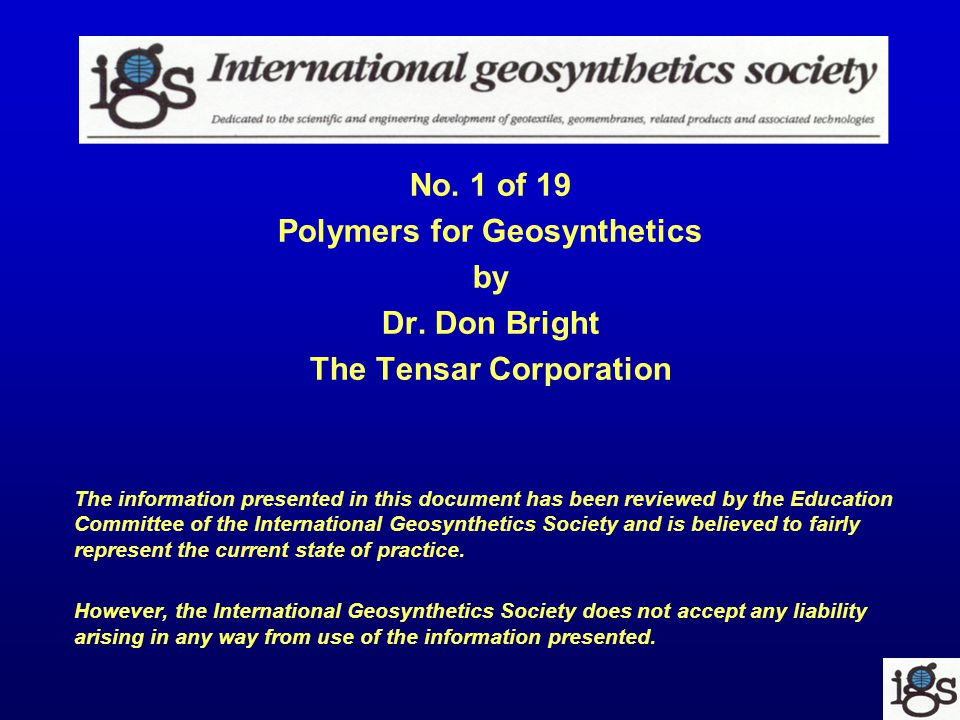 No. 1 of 19 Polymers for Geosynthetics by Dr.