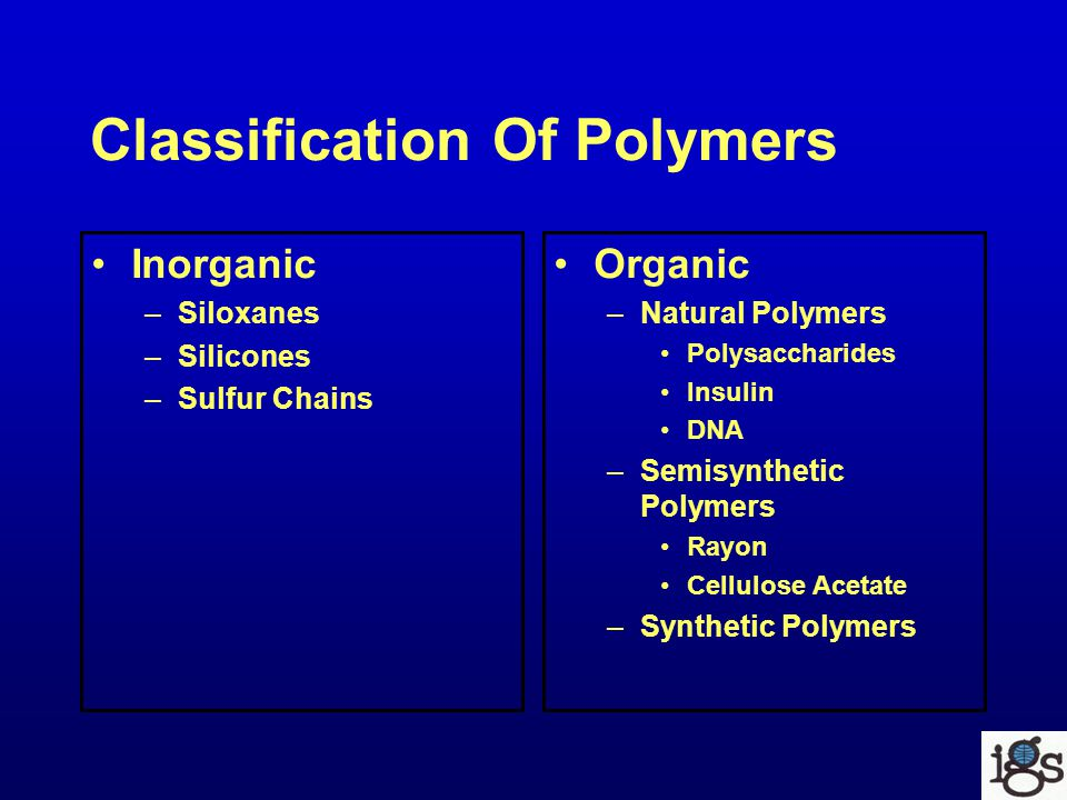 Classification Of Polymers Inorganic –Siloxanes –Silicones –Sulfur Chains Organic –Natural Polymers Polysaccharides Insulin DNA –Semisynthetic Polymers Rayon Cellulose Acetate –Synthetic Polymers