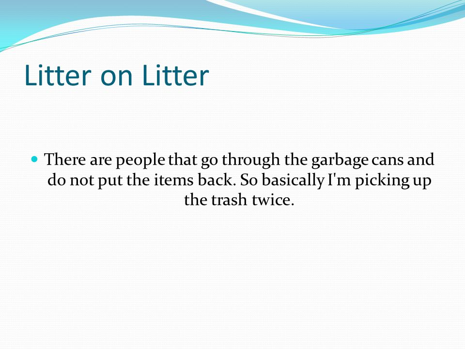 Litter on Litter There are people that go through the garbage cans and do not put the items back.
