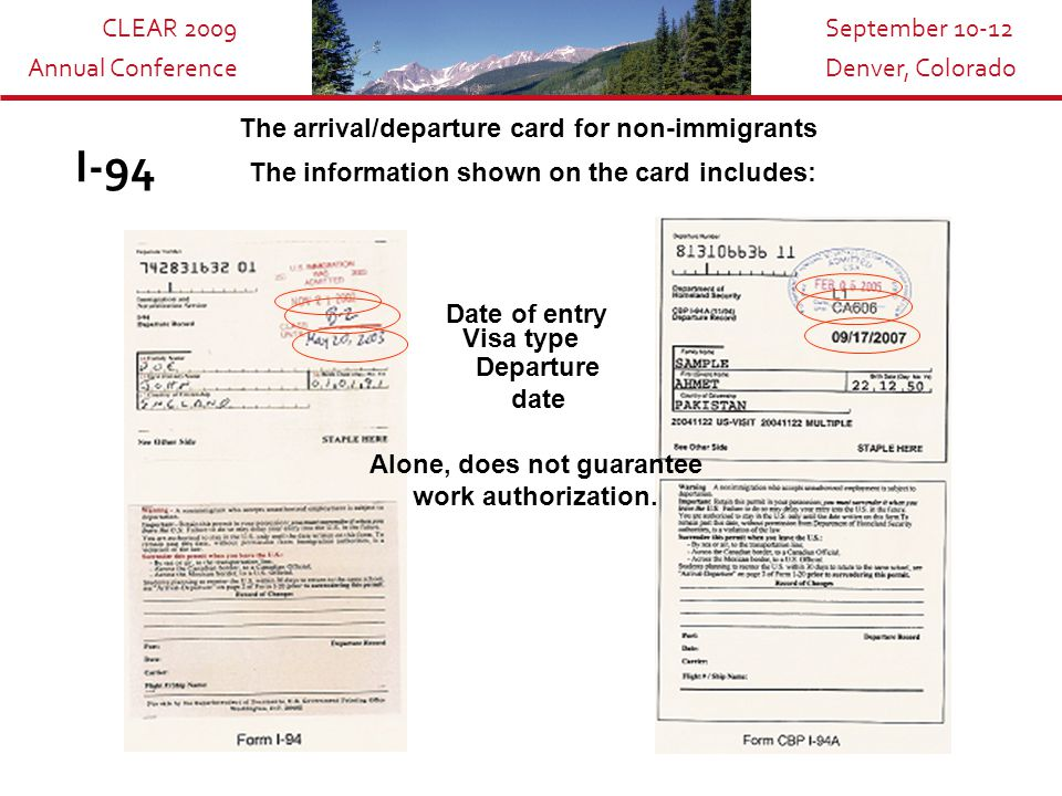 CLEAR 2009 Annual Conference September 10-12 Denver, Colorado Temporary Resident Cards I-688 Was issued to aliens that were granted temporary resident status.