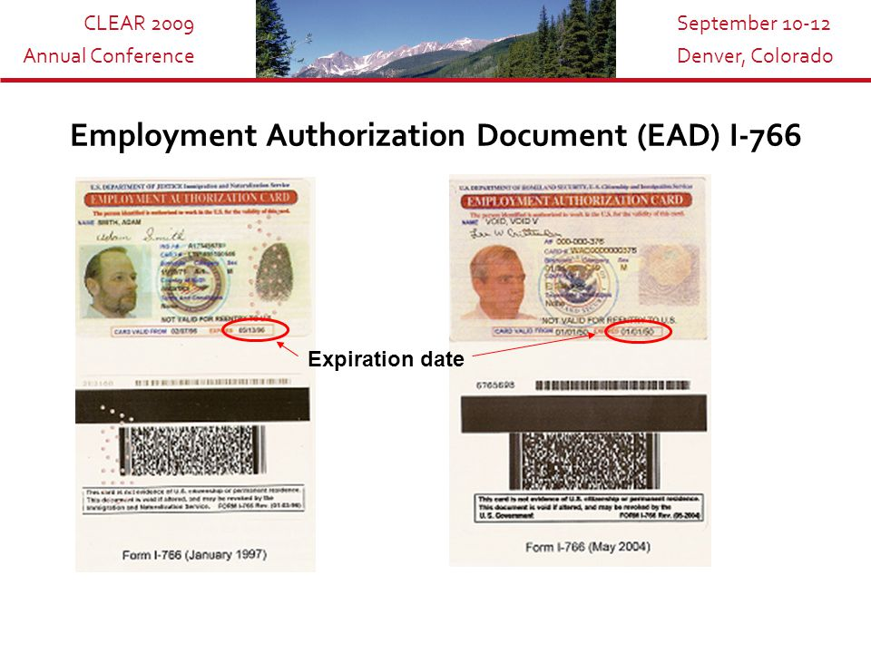 CLEAR 2009 Annual Conference September 10-12 Denver, Colorado I-94 The information shown on the card includes: The arrival/departure card for non-immigrants Date of entry Visa typeDeparture date Alone, does not guarantee work authorization.