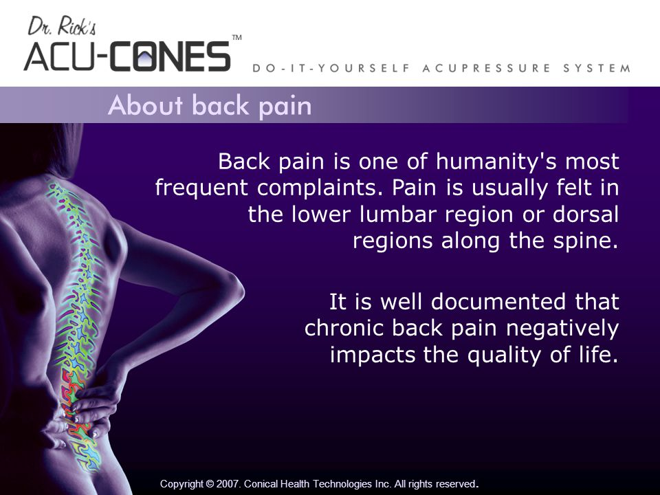 About back pain Copyright © 2007. Conical Health Technologies Inc.