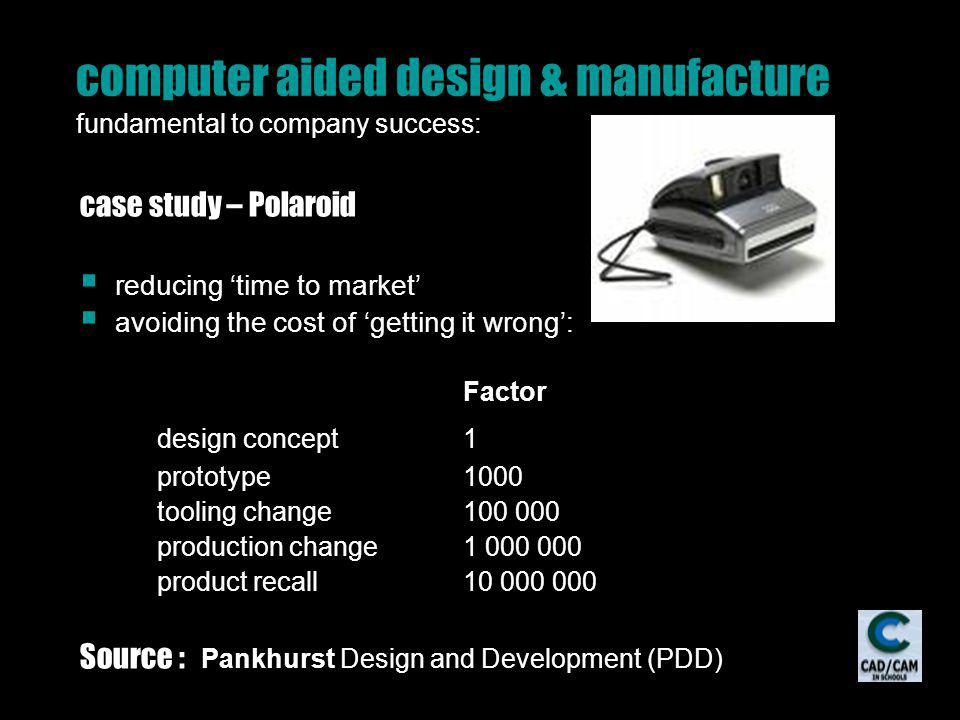 computer aided design & manufacture fundamental to company success: case study – Polaroid reducing time to market avoiding the cost of getting it wrong: Factor design concept1 prototype1000 tooling change100 000 production change1 000 000 product recall10 000 000 Source : Pankhurst Design and Development (PDD)