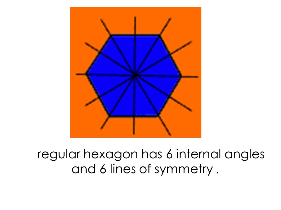 a regular pentagon has 5 internal angles and 5 lines of symmetry.
