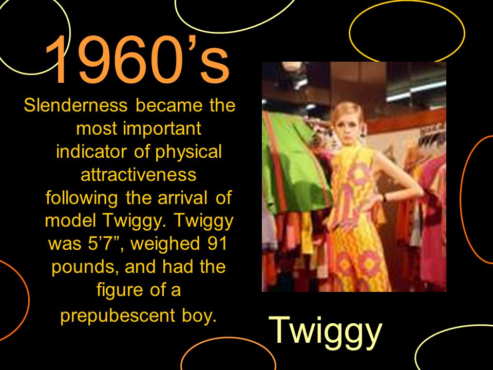 Slenderness became the most important indicator of physical attractiveness following the arrival of model Twiggy.