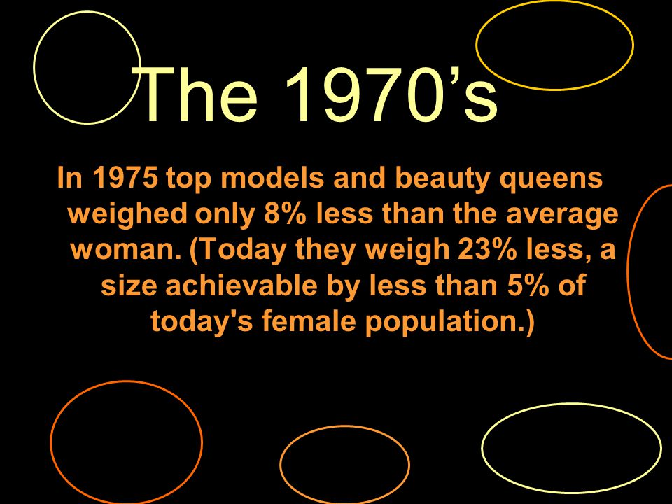 In 1975 top models and beauty queens weighed only 8% less than the average woman.