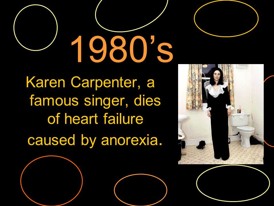 Karen Carpenter, a famous singer, dies of heart failure caused by anorexia. 1980s