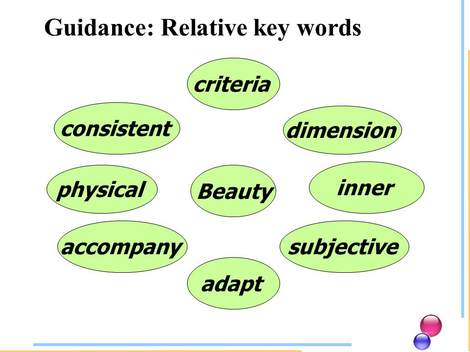 criteria consistent dimension physical inner accompany adapt subjective Beauty Guidance: Relative key words
