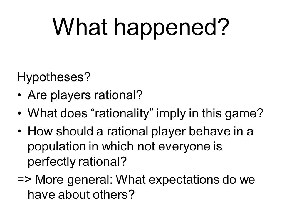 What happened. Hypotheses. Are players rational.