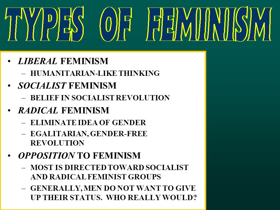 LIBERAL FEMINISM –HUMANITARIAN-LIKE THINKING SOCIALIST FEMINISM –BELIEF IN SOCIALIST REVOLUTION RADICAL FEMINISM –ELIMINATE IDEA OF GENDER –EGALITARIAN, GENDER-FREE REVOLUTION OPPOSITION TO FEMINISM –MOST IS DIRECTED TOWARD SOCIALIST AND RADICAL FEMINIST GROUPS –GENERALLY, MEN DO NOT WANT TO GIVE UP THEIR STATUS.