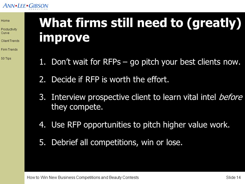 How to Win New Business Competitions and Beauty Contests Slide 14 Home Productivity Curve Client Trends Firm Trends 50 Tips What firms still need to (greatly) improve 1.Dont wait for RFPs – go pitch your best clients now.