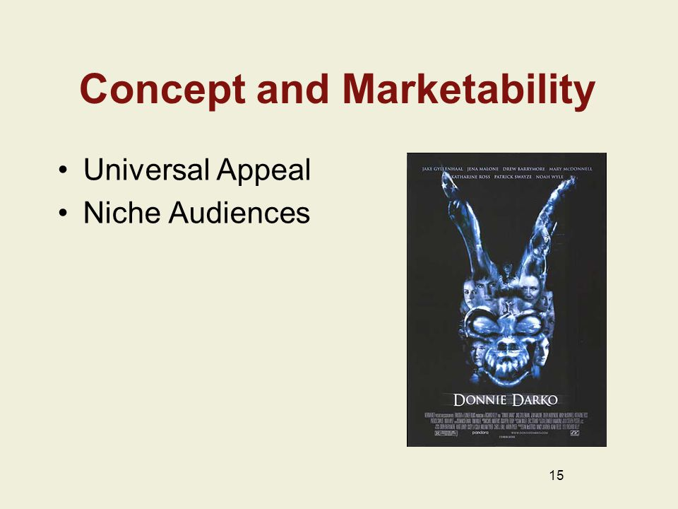 Concept and Marketability Universal Appeal Niche Audiences 15