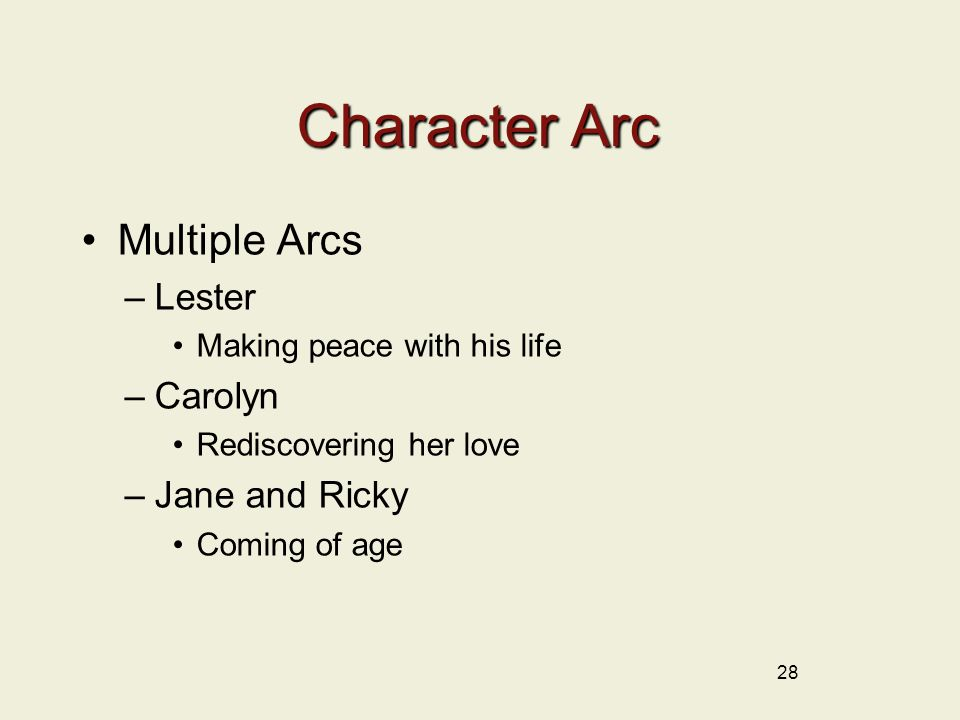 Character Arc Multiple Arcs –Lester Making peace with his life –Carolyn Rediscovering her love –Jane and Ricky Coming of age 28