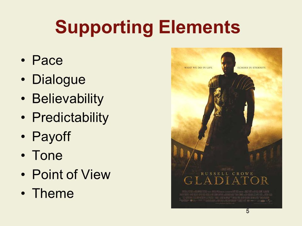 Supporting Elements Pace Dialogue Believability Predictability Payoff Tone Point of View Theme 5