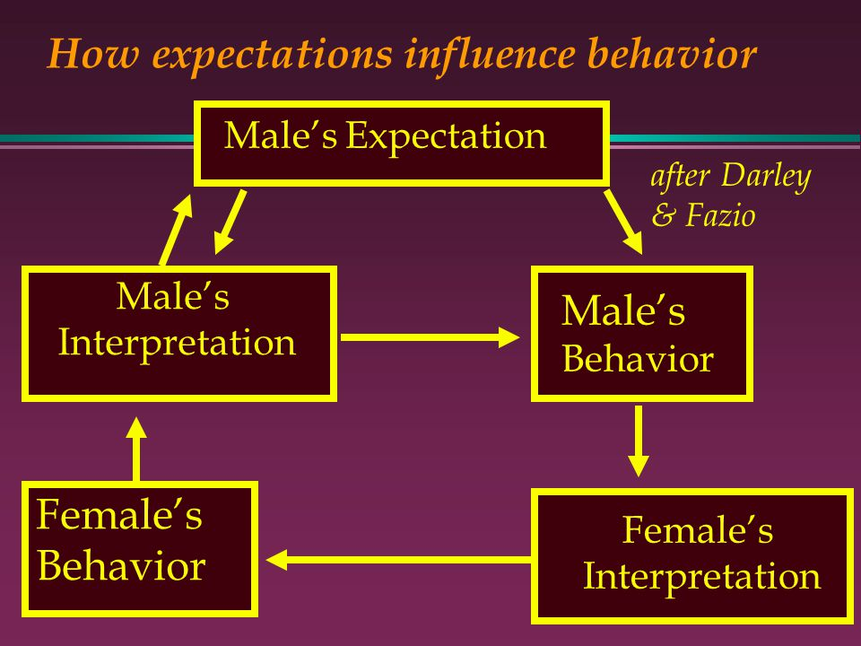 Females Interpretation How expectations influence behavior Males Expectation Males Behavior Males Interpretation Females Behavior after Darley & Fazio