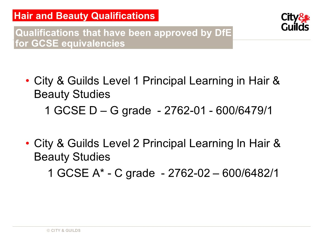 © CITY & GUILDS City & Guilds Level 1 Principal Learning in Hair & Beauty Studies 1 GCSE D – G grade - 2762-01 - 600/6479/1 City & Guilds Level 2 Principal Learning In Hair & Beauty Studies 1 GCSE A* - C grade - 2762-02 – 600/6482/1 Hair and Beauty Qualifications Qualifications that have been approved by DfE for GCSE equivalencies