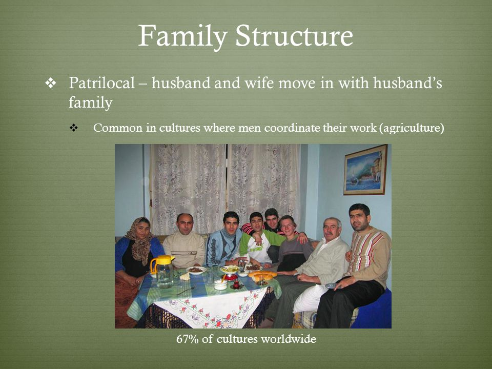 Family Structure Patrilocal – husband and wife move in with husbands family Common in cultures where men coordinate their work (agriculture) 67% of cultures worldwide