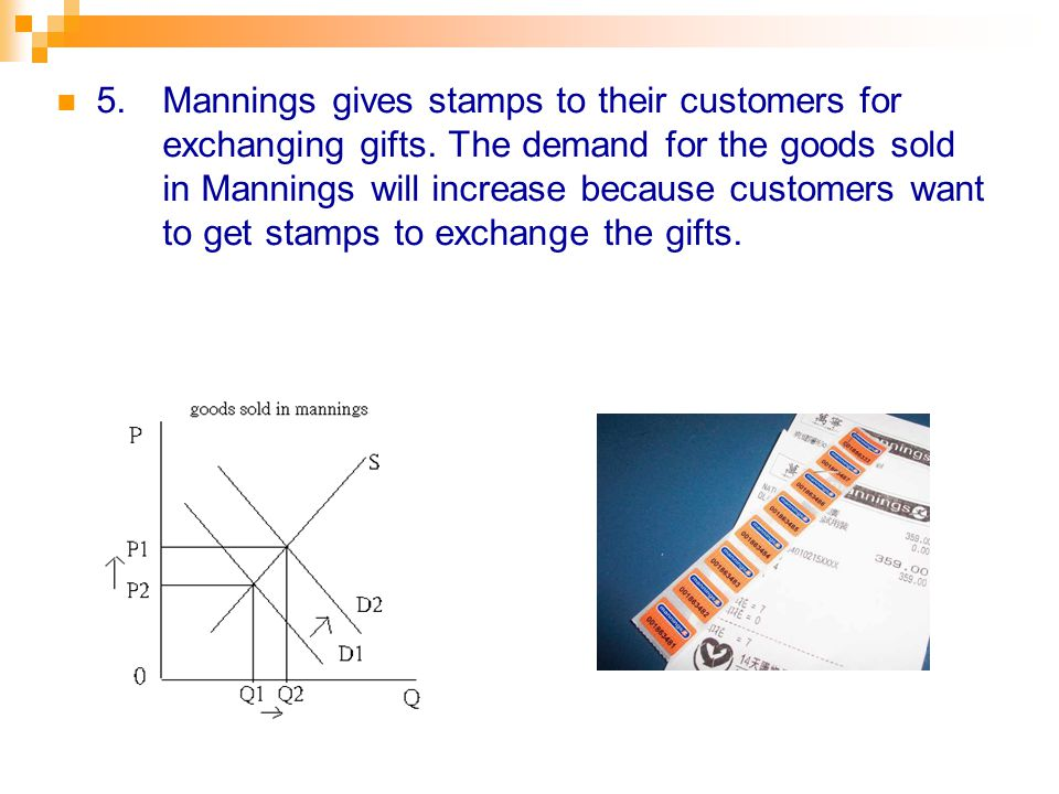 5.Mannings gives stamps to their customers for exchanging gifts.